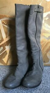 RED HERING SHOE-LICIOUS GREY LEATHER KNEE HIGH BOOTS UK 8 / EU 41 *WIDE CALF
