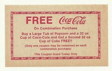 Vintage 1950's - 1960's Unused Free Coca-Cola Coupon Fron a Drive In Theater