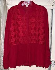 Sundance Large L Sheer Floral Embroidered Button Down Blouse Ruffle Peplum Hem