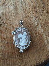 Cammeo argento 925, ciondolo cameo angel sardonico made in italy