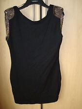 AX Paris s14 black top/dress sequin padded shoulders viscose/elastane sleeveless