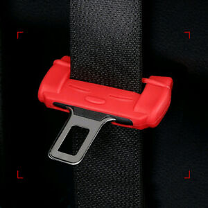 Car Accessories Safety Seat Belt Buckle Clip silicone Anti-Scratch Cover Red