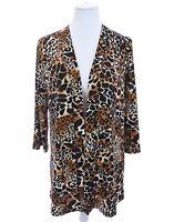 Slinky Brand Leopard Print Tunic Duster Cardigan Jacket Artsy Brown Women Sz S