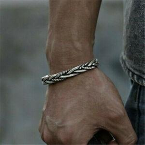 Men Vintage 925 Sterling Silver Thai Handmade Open Bangle Twisted Cuff Bracelet