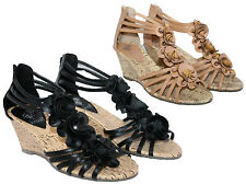 """LADIES BLACK AND CAMEL 2"""" FAUX CORK WEDGE SANDAL WITH ZIP AND FLOWER TRIM 3-8"""