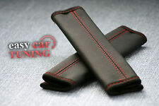 BLACK REAL GENUINE LEATHER 2X SEAT BELT HARNESS SHOULDER COVERS PADS RED STITCH