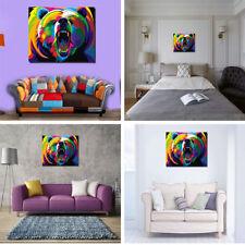 Peinture Huile Tableau Abstraite Art Moderne Ours Coloré Mural Décoraton Salon