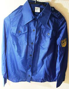 DDR FDJ Bluse Damen, Blau mit FDJ-Wappen, Kunstfaser,Größe m82 (ca 38) unbenutzt