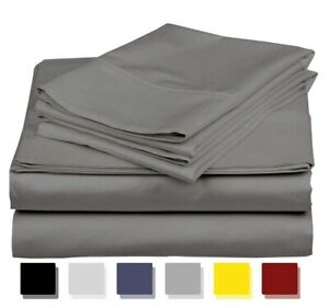 """Bed Sheet Set Pure Cotton High Thread Count In Dark Gray 12"""" TO 15"""" Deep 7 Size"""