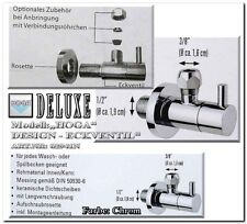 HOGA Designer 3/8 ZOLL Eck Wand Ventil zylindrisch RUND ROSETTE Messing chrom