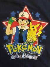 Pokémon T Shirt Children's Large Navy Blue Feat. Ash And Pikachu