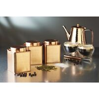Le'Xpress KitchenCraft Stainless Copper Finish Tea Coffee Sugar Tin Set