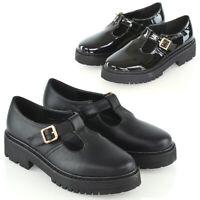 Womens Mary Jane Shoes Ladies T-Strap Buckle Geek Chunky Sole School Shoes Size