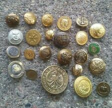 Vintage Reproduction Crest and Military metal buttons.