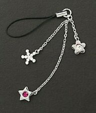 Cell Phone Charm Dangle Purple Crystal Star Christmas Gifts Free Shipping New