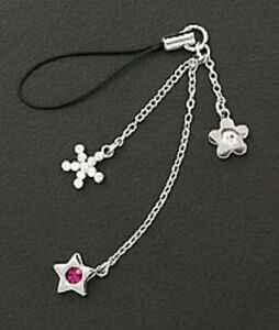 Cute Cell Phone Charm Strap Dangle Silver & Purple Crystal Star Christmas Gift