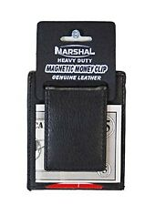 Mens Card Holder Money Clip Genuine Leather Slim Stylish Thin Magnetic - Black