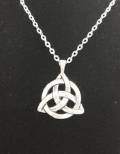 Celtic Triquetra Trinity Knot Pendant Silver Plated Long Chain Necklace