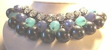 Vintage 80's Chunky Plastic Lucite Rhinestone Drop Bead Necklace Green Blue Grey