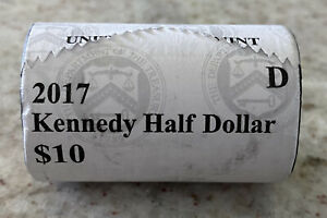 Kennedy Half Dollars, 2017-D.  US Mint Uncirculated Roll of 20 Coins. $10 Face.