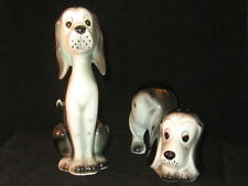 Black White Hound Dog Salt & Pepper Shakers Porcelain Japan - EUC