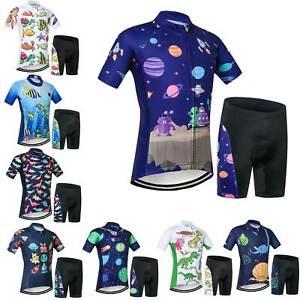 Boys Girls Bike Clothing Set Short Sleeve Cycle Jersey Shorts Kids Summer Kit