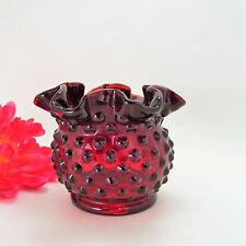 Fenton Ruby Hobnail Ruffled Vase Red Glass Vintage Collectible Rose Bowl-Signed