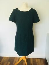 Hobbs NW3 green wool blend Dress - size 14-lined tweed Smart Occasion Office 7A