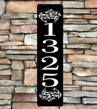 "Personalized Home Address Sign Aluminum 3"" x 12"" Custom House Number Plaque sq10"