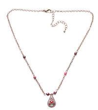 Señoras Vintage Bronce Oscuro Gótico Collar con cuentas de piedra roja sangre (Zx67)