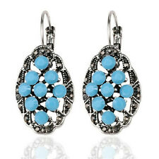Vintage Style Antique Gold Turquoise Blue Rhinestones Flower Stud Earrings E1113