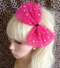 9006fab812534 HOT PINK SPARKLE BOW TULLE TUTU NET ALICE HAIR HEAD BAND 80s PARTY FANCY  DRESS