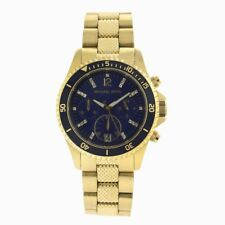NEW MICHAEL KORS GOLD TONE,BLUE DIAL CHRONOGRAPH BRACELET WATCH-MK5447