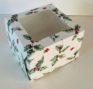 """4 x CHRISTMAS CAKE BOXES 6 x 6 x 4 """" inch FESTIVE Square with clear Window XMAS"""