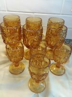 """LE Smith Amber Moon and Stars Goblets  10 Piece Set 6 x6"""" 4x 4.5"""" Vintage"""