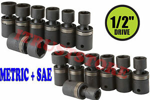 "1/2"" DR METRIC MM & SAE FLEXIBLE U-JOINT AIR IMPACT UNIVERSAL WOBBLE SOCKET SET"