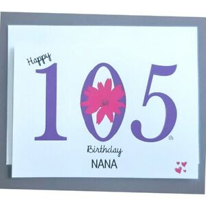 Personalised 105th Birthday Card - Female - 105 Years Old - Great Grandmother