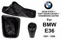 BMW E36 5 SPEED GEAR STICK + HANDBRAKE + SHIFT KNOB GAITER BOOT LEATHER
