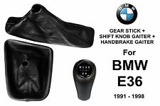 BMW E36 5 SPEED GEAR STICK + HANDBRAKE + SHIFT KNOB GAITER BOOT LEATHER