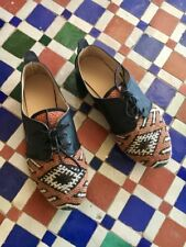 Handmade Moroccan Kilim Black Leather Oxfords Lace Up Shoes Women EU 37 US 6 6.5