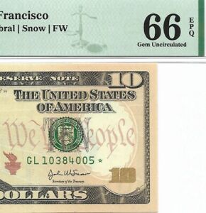 2004A $10 SAN FRANCISCO * STAR * 🌟 FRN, PMG GEM UNCIRCULATED 66 EPQ BANKNOTE
