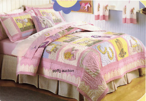 NEW Girls Kids Horse Riding Pony Bedding Pink Yellow Patchwork Quilt Size FULL