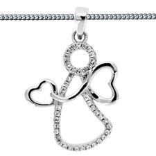 Herz Flügel Schutzengel Anhänger mit weißen Zirkonia Echt Silber 925 mit Kette