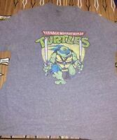 Teenage Mutant Ninja Turtles Leonardo Battle Pose Licensed Adult T Shirt Grey