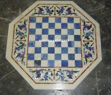 White Marble Coffee Chess Table Top Lapis Lazuli Inlaid Work Home Decors H4684