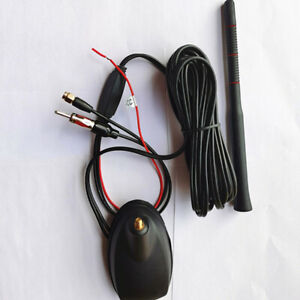 12V+ FM/AM Car Radio Antenna Aerial GPS Navigation Amplifier Roof Mount 5M Cable