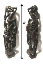 "16"" Shetani Makonde African Tribal Art Statue Carved Black Magic Devil Sculpture"
