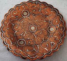 Di alta qualità Antico Islamico piatto in Rame Argento intarsiati