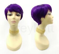 Heat Resistant Pixie Wig Purple Bangs Tapered Short Straight