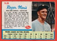 1962 Post #6A Roger Maris VG CREASE MARKED New York Yankees FREE SHIPPING
